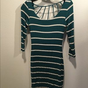 Green and white striped mini with cute back